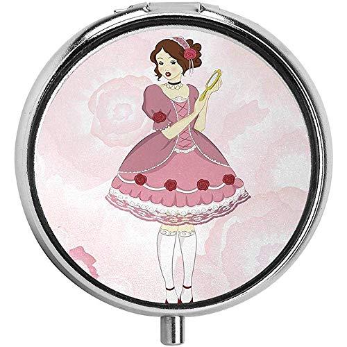 Meisje in een Victoriaanse jurk met een spiegel op Pastel met rozen pil case ronde tas voor portemonnee/3-vaks pil doos/geval