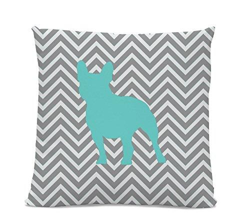 Chevron Teal French Bulldog Pillow - Frenchie Silhouette Pillow - Gray Chevron Pillow - dog home decor - French Bulldog Decor - Dog Pillow