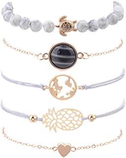 Turtle Pendant Layered Map Bead Bracelet Set Tree of Life Multi-Layer Tassels Boho Woven Bracelet for Women