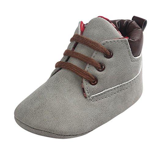Babyschuhe Lederschuhe Neugeborenen Lauflernschuhe Baby Mädchen Krippeschuhe Krabbelschuhe rutschfest Weiche Schuhe Sternchen Schuhe Wanderschuhe Krabbelschuhe LMMVP (Grau, 12CM(6~12 Month))