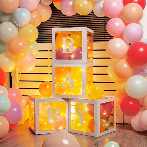 Scatole di Palloncini per Baby Shower 4 Pezzi Blocchi Palloncino Trasparente con 4 Luci a LED di Lucciola, 32 Palloncini Arcobaleno Macaron per Baby Shower Compleanno Feste (Bianca)