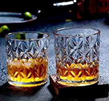 Syanka Crystal Cut Whiskey Glasses Set of 6, Clear, 310 ml, Drinking Whisky Glass