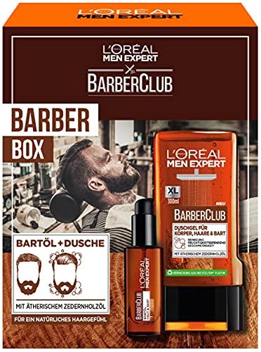 L'Oréal Men Expert Beard Care Set with Beard Oil and Shower Gel, Barber Club Men's Gift Set, with Essential Cedarwood Oil, 1 x 330 ml
