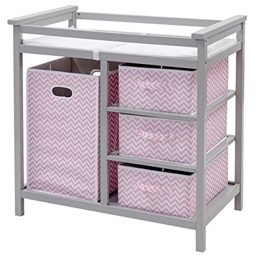 Costzon Baby Changing Table, Infant Diaper Changing Table Organization, Diaper Storage Nursery Station with Hamper and 3 Baskets(Gray+Pink)