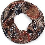 styleBREAKER Feinstrick Loop Schlauchschal mit Ethno Punkte African Style Muster, Schal, Damen 01017042, Farbe:Braun-Beige-Orange