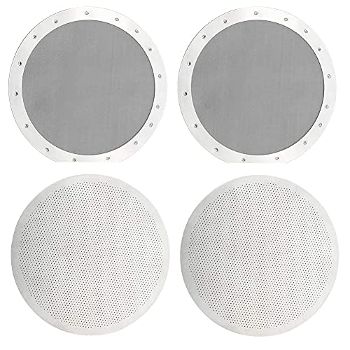 NORHOR Paquete de 4 filtros de café reutilizables premium para cafeteras , 2 tipos de microfiltros finos de malla metálica de acero inoxidable lavables, plateado.