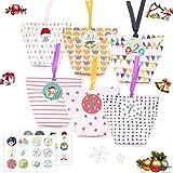 Sunshine smile 24 Natale Calendario dell'Avvento,Calendario Avvento 2020,Calendario avvento Sacchetto Regalo di Natale,sacchettini Carta,Sacchetti Regalo in Carta Kraft,scatole Regalo Natalizie
