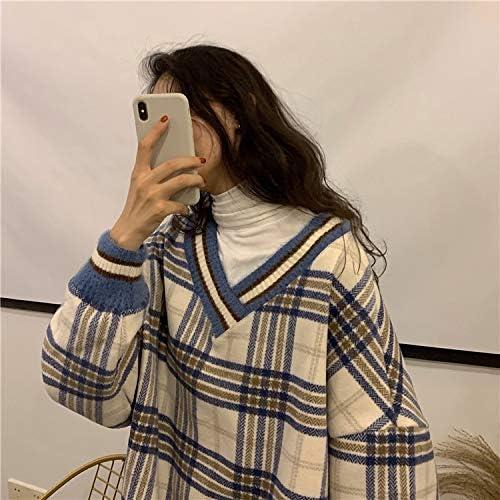 HOVYGB Femmes Hiver Lâche Plaid Nouveau Col en V Tops Vintage Simple Mode Casual Femme Sweatshirt Bleu