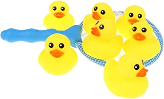 MagiDeal Mini Yellow Rubber Bath Ducks with Fishing Net, Fishing Floating Toy for Baby and Kids