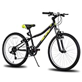Hiland Climber - Bicicleta de montaña para niños (24 pulgadas, horquilla de suspensión, 6 velocidades, frenos V-Brake negros)