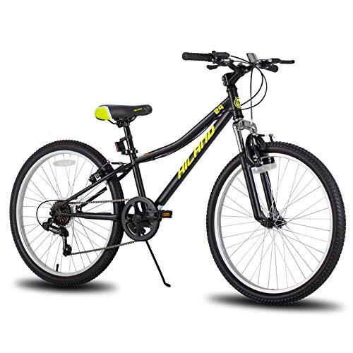 Bicicleta de montaña Hiland Climber para niños, 24 pulgadas, con horquilla de suspensión, cambio Shimano de 6 marchas, freno en V, color negro