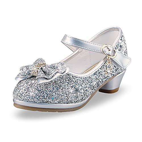 Zapatos de Lentejuelas de Niña Disfraz Princesa Zapatos Niñas Vestir Fiesta Cumpleaños Zapatos de Tacón(EU/29Plateado)