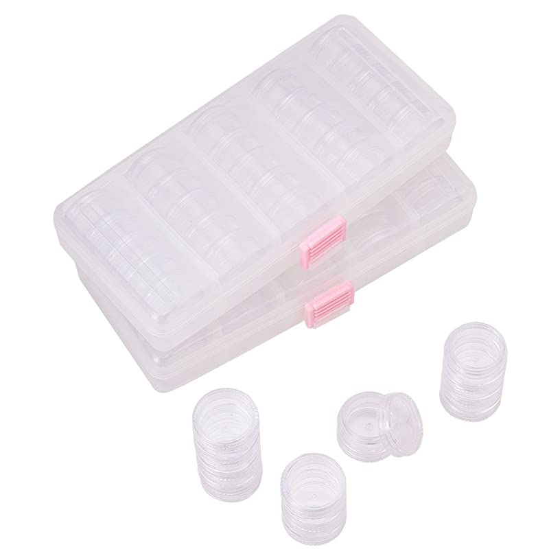 PandaHall Elite 2 Sets Plastic Bead Accessory Storage Organizer with 50 Small Plastic Stackable Jars Container Clear