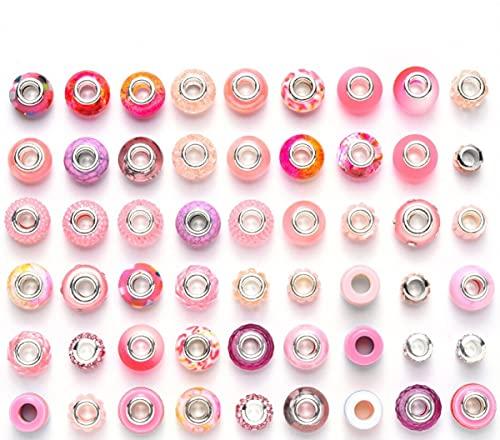 Sadingo Abalorios de color rosa rosa, 50 unidades, juego de perlas grandes para mujeres y niñas, para manualidades, collares, pulseras, joyas
