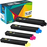 Do it Wiser Compatible Toner Cartridge Replacement for Kyocera Ecosys FS C8520MFP FS C8525MFP FS C8520 FS C8525 TASKalfa 205c 255c - TK-897K TK-897C TK-897M TK-897Y - 4 Pack