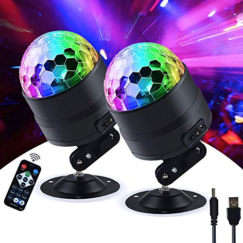 DiscoPart Sound Activated Wireless Party-Lights with Remote Control Dj Lighting, RGB Disco Ball, Strobe Lamp 7 Modes Stage (2 Pack)