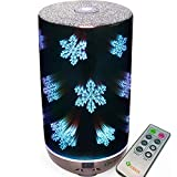 Essential Oil Diffuser 3D Glass 200ml Galaxy Premium Ultrasonic Aromatherapy Oils Humidifier with Remote Control and Amazing LED Lights, Handy Auto Shut-Off Function & Large Water Tank