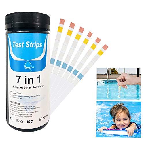 QmSki Pool-Teststreifen, Wasserhärte-Teststreifen, Whirlpool-Wasser-Teststreifen, 7-in-1-Teststreifen für Chlor, Brom, Härte, Nitrit, pH und Alkalinität, 100 Stück