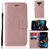 MYLBOO Case for LG K50 Case, LG Q60 Case, PU Leather Case Book Case Flip Wallet Case with Card Slots Stand and Magnetic Closure for LG K50 Cover (Rose Gold)