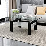 Merax Black Highlight Glass Top Cocktail Coffee Table with Wooden Legs,100 x 60 x 45 cm White