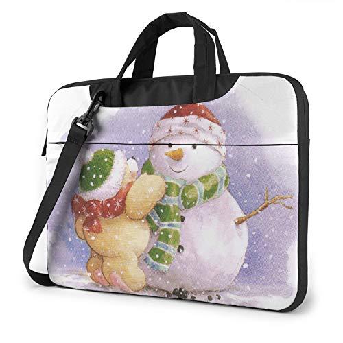 Laptop Bag Winter Snowman Laptop Shoulder Bag Messenger Briefcase Laptop Case Sleeve for 15.6 Inch