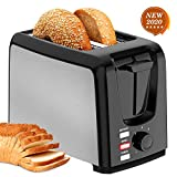 2 Slice Toasters Best Rated Prime Wide Slot with Bagel/Defrost/Cancel Function Stainless Steel Cool Touch Black Toaster 2 Slice for Bread with Removable Crumb Tray