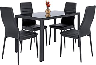 Thaweesuk Shop Black 5 pcs. Glass Dining Table Set with 4 Leather Chairs Kitchen Room Furniture Tempered Glass Thickness: 0.32