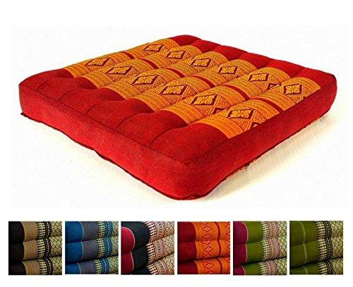 livasia Kapok Sitzkissen 35x35x6,5cm der Marke, optimal als Stuhlauflage oder Meditationskissen, Bodenkissen BZW. Stuhlkissen (rot/gelb)