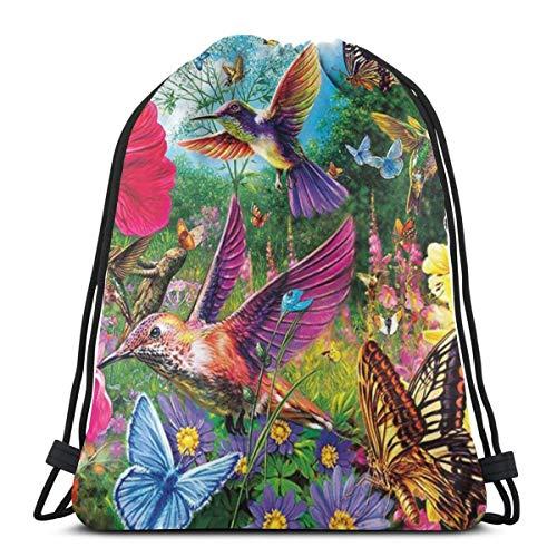 EU Kolibri Vogel Blumen Schmetterling Leichte Kordelzug Tasche Sport Gym Sack Tasche Rucksack 36 x 43 cm / 14,2 x 16,9 Zoll