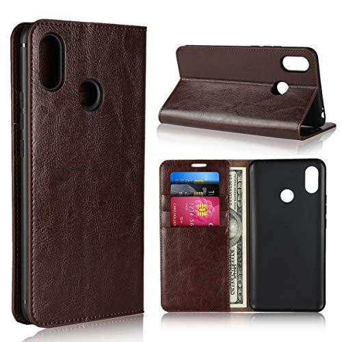 Copmob Hülle Xiaomi Mi Max 3,Premium Flip Brieftasche Leder Schutzhülle,[3 Kartensteckplätze][Bracket-Funktion][Stoßfestes TPU],Ledertasche Handyhülle für Xiaomi Mi Max 3 - Dunkelbraun