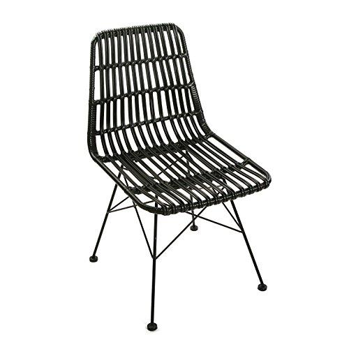 Versa 21380005 Chaise Sinaloa, métal, Noir, 60 x 47,5 x 83 cm