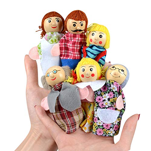 Happy cherry - Juguetes Marionetas de Dedos de Cuentos de Muñecos Lindas para Niños Bebés 6 PCS Conjunto de Títeres de Mano de Dibujos Animados Colorido - Familia