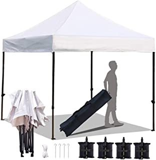 KingShade 10'x10' Ez Pop Up Canopy Tent, 10x10 ft Commercial Instant Tents with Heavy Duty Roller Bag, Outdoor Sun and Rain Shelters, Bonus 4 Sandbags, White