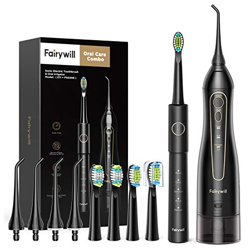 Water Flosser and Toothbrush Combo, Fairywill Teeth Cleaner Set, Fast Charge for 30 Days Use, 5 Optional Modes and 4 Brush Heads Whitening Toothbrushes, 3 Modes and 4 Jet Tips Oral Irrigator
