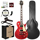 Sawtooth Heritage Series Flame Maple Top Electric Guitar with ChromaCast Pro Series LP Body Style Hard Case, 25 Watt Amp, Accessories, Cherry Flame