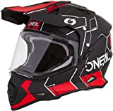 O'NEAL | Casco de Motocicleta | Enduro | Shell Exterior ABS, con Visera y Parasol Integrado, Cierre de Seguridad de Doble D en la Barbilla | Sierra Casco Comb | Adultos | Negro Rojo | Talla XL