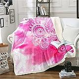 Loussiesd Manta de forro polar con mandala, bohemia, floral, medallón, para cama, sofá, cama exótica, color rosa, cálida y difusa, 150 x 152 cm
