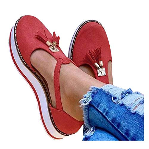 DONGXIEHYS Women's Tassel Round Toe Flat Pumps Thick Bottom Buckle Strap Casual Beach Shoes Red