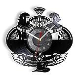 ROMK Reloj de Pared Moderno Egipcio Reina Cleopatra Retro Luminoso Reloj de Pared Antiguo Egipto Faraones Disco de Vinilo Artesanía Reloj Vintage Obra de Arte Decoración