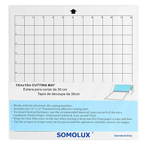 """SOMOLUX Adhesive Cutting Mat Standard-Grip 5 Pcs Suit for Silhouette Cameo, Cricut Die Cutting Machine, 12""""×12"""" Value Pack"""