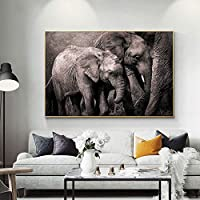 アフリカ象動物の風景キャンバス絵画ポスターとプリントリビングルームの家の装飾のためのスカンジナビアのモダンなウォールアートの写真80x120cmフレームレス
