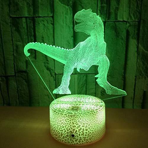 HHR 3D nachtlampje, dinosaurus kleurrijke touch-afstandsbediening acryl led zichtbaar licht 3D illusie nachtlampje Atmosphre 3D kleine tafellamp baby slaapkamer decoratie geschenk Touch Crack