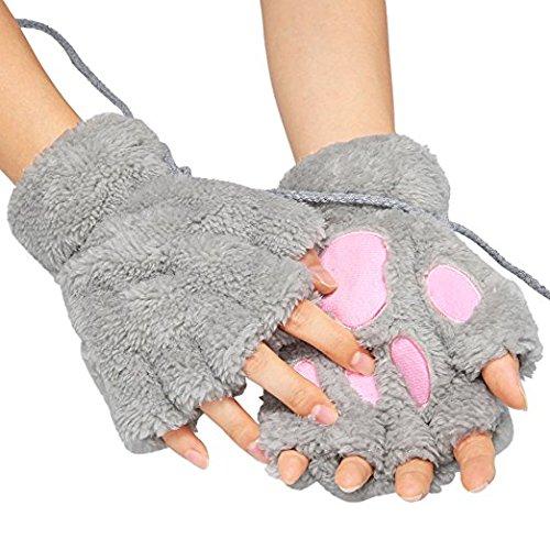 EQLEF®süße Fingerlose Handschuhe,EIN Paar Grau Frauen Bär Plüsch Katze Tatze Klaue halbe Finger Handschuh Soft Winter Handschuhe