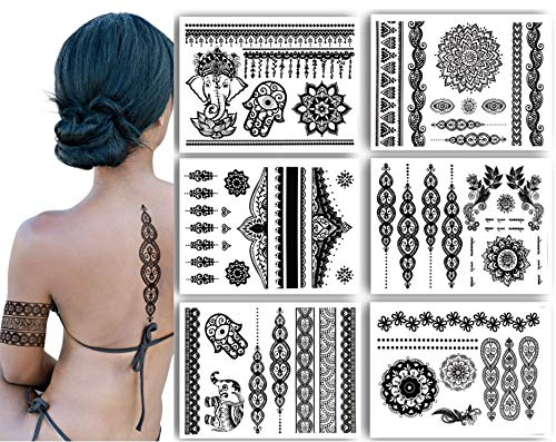 Terra Tattoos Temporary Henna Metallic Tattoos - Over 75 Mandala Tattoos (Black)