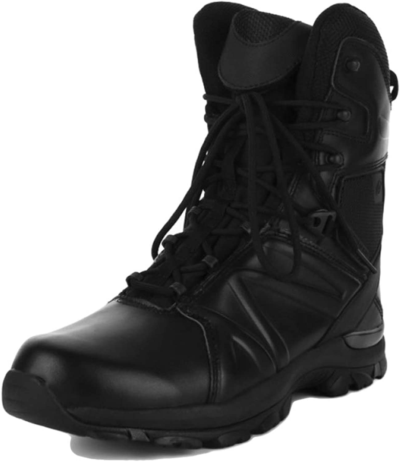 YC Mens Leather Steel Toe Cap Military Combat Ankle Boots Safety Trainers Police Work shoes Martin Boots Safety Predection Special Service shoes