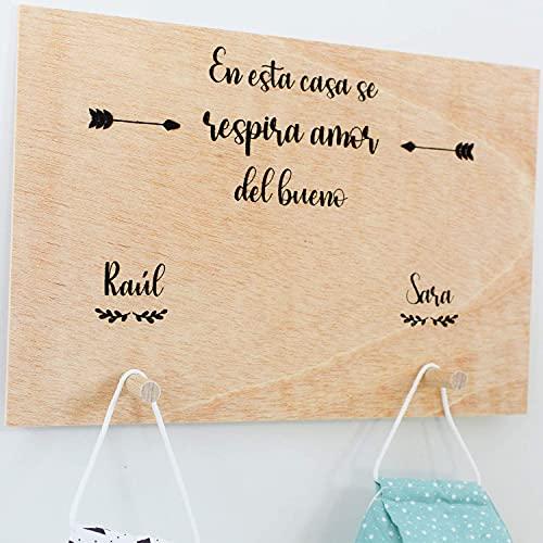 Colgador de mascarillas o cuelga llaves personalizado en madera para pared de casa modelo RESPIRAR