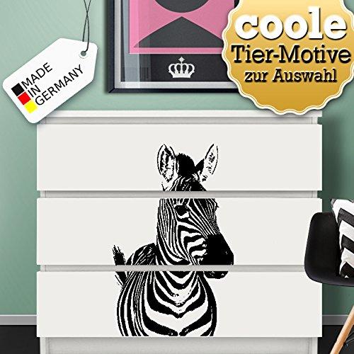Wandora W1409 Wandtattoo Tiermotive passend für IKEA HEMNES und MALM Kommode Motiv 2 Zebra: 38 x 60 cm schwarz