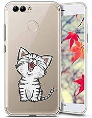 Surakey Compatible avec Coque Huawei P Smart,Transparente Silicone Housse Étui Protection TPU Bumper Téléphone Couverture Crystal Clair Coque pour Huawei P Smart (Chat)