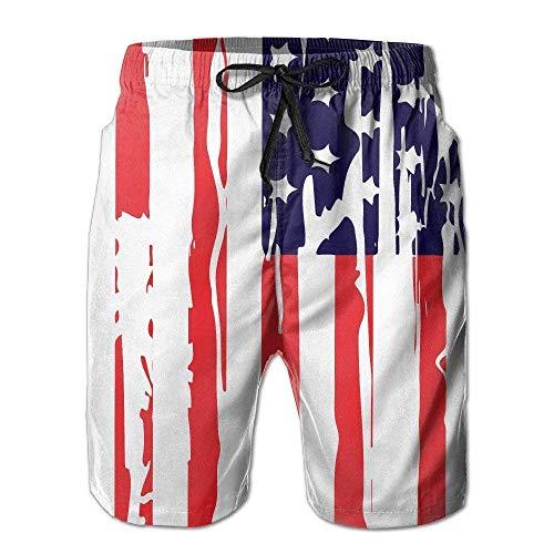 ZQHRS America Flag Independent Day Neueste Herren-Trainings- und Badehose Quick Dry Beach Board Shorts Größe L
