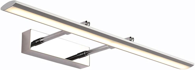 XMYX LED Spiegelleuchte, Modern Badleuchte Badlampe Wandleuchte Schminklichte Einstellbar LED Spiegellampe Neutralwei Licht 4000K IP44 Wasserdicht Aufbauleuchte,Silber,49cm12W